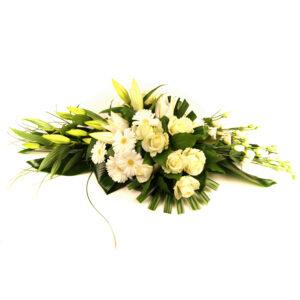 Afscheidsbloemen modern bloemstuk witte roze lelies