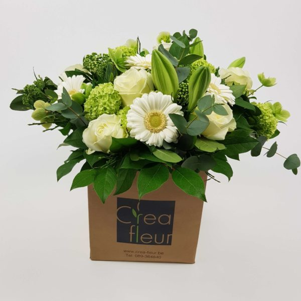 Boeket wit groen Crea-fleur Oudsbergen Webshop online bloemen bestellen verkoop