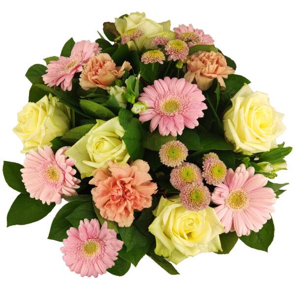 Boeket bloemen in roze en wit (bovenkant)