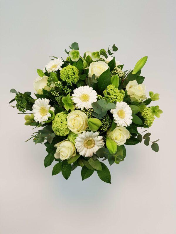 Bloemenboeket witgroen crea-fleur online bloemenverkoop bloemenwebshop