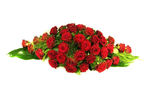 Afscheidsbloemen, crea-fleur, rode rozen, overlijden