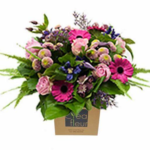 boeket met tasje roos paars Crea-fleur