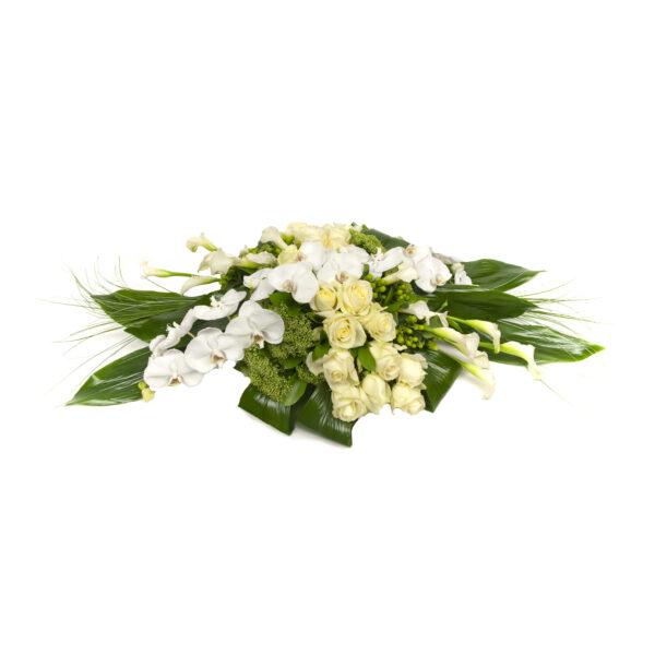 Afscheidsbloemen Calla Orchidee Rozen kistversiering wit