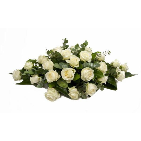 Afscheidsbloemen bloemstuk witte rozen
