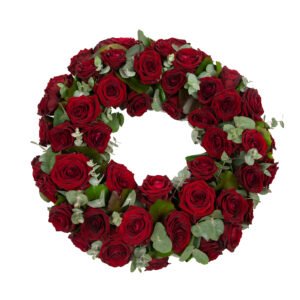 Afscheidsbloemen cirkel rode rozen