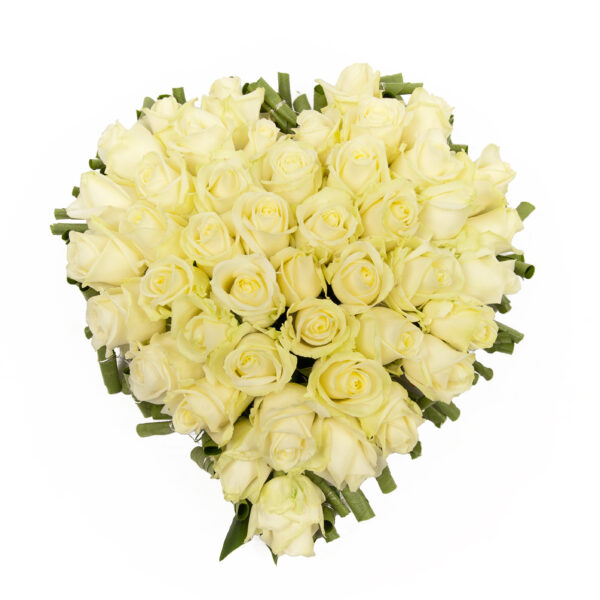 Afscheidsbloemen groot wit hart groene rand