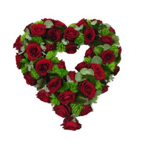 Afscheidsbloemen hart rode rozen (2)