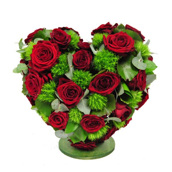 Afscheidsbloemen hart rode rozen