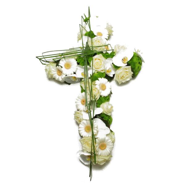 Afscheidsbloemen modern bloemstuk kruisvorm