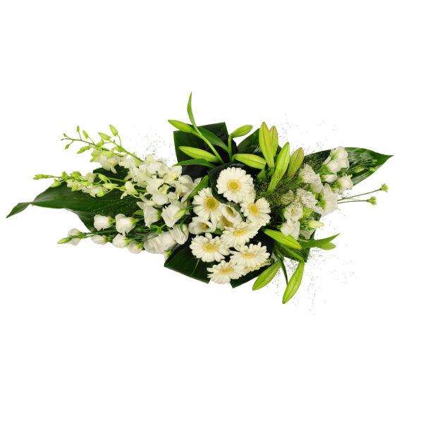 Afscheidsbloemen witte margrieten rozen