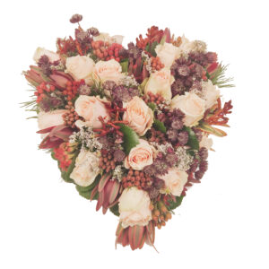 Afscheidsbloemen Hart Roze rozen en astrantia