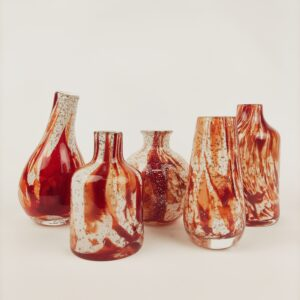 Vazen met rood accent