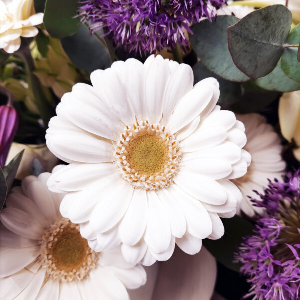 Afscheidsbloemen detail gerbera wit